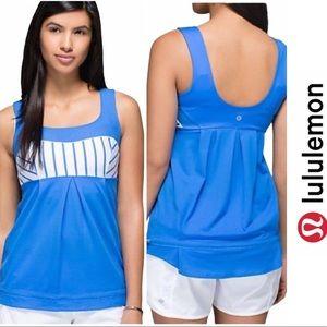 Lululemon Blue & White Stripe Elevate Tank Size 6